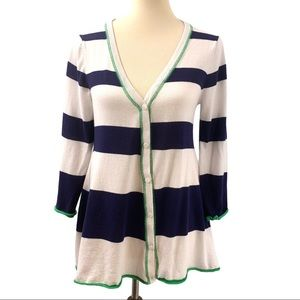 Spense Knits Striped Button Front Cardigan Sweater